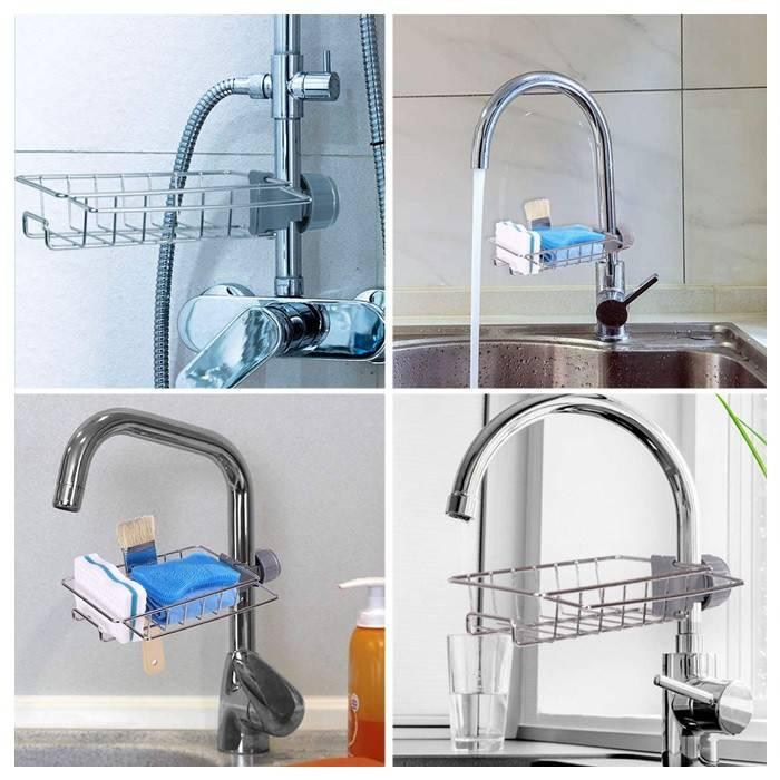Kitchen Stainless Steel Faucet Sink Sponge Holder Water Tap Soap Sponge Storage Rack