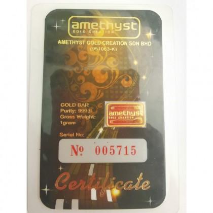 Amethyst Collectible Gold Bar 1 gram 999.9 | Jongkong Emas