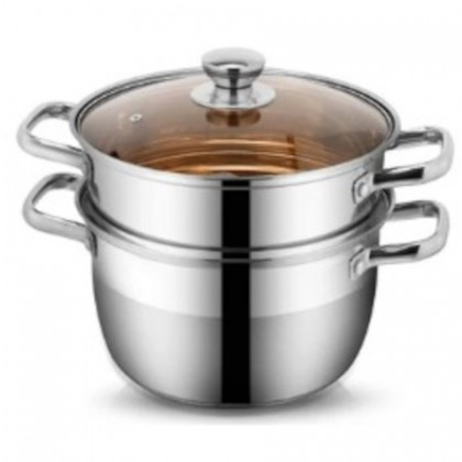 Double Layer Stainless Steel Soup and Steamer Pot [22cm - 24cm]