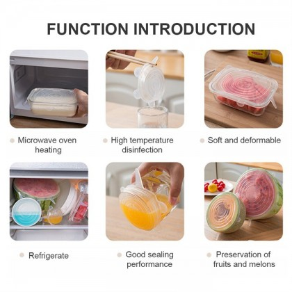 6PCS Reusable Silicone Wrap Food Fresh Keeping Wrap Kitchen Tools Silicone Food Wrap Seal Lid Cover Stretch Accessorie