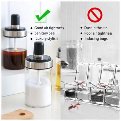 Glass Spice Jar Bottle Household Seasoning Container Kitchen Salt Shaker Seasoning Can