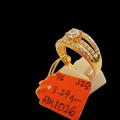 Cincin Batu Wanita emas 916 3.57 gram saiz 20