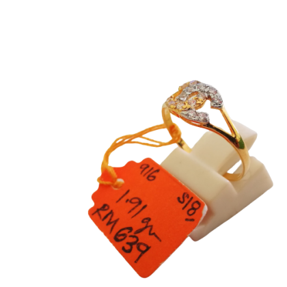 Cincin Batu Wanita emas 916 1.91 gram saiz 18