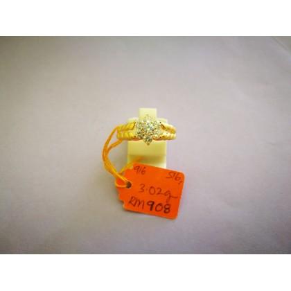 Cincin Batu Wanita emas 916 3.02 gram saiz 16