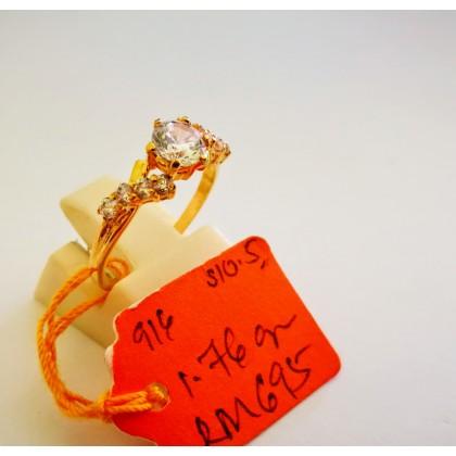Cincin Batu Wanita emas 916 1.76 gram saiz 10.5