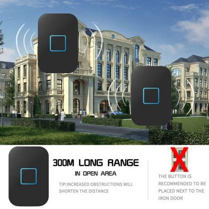 Loceng Pintu Daytech Wireless Doorbell Self-Powered Don't Need Battery IP44 Waterproof Door Bell UK Plug 1 Receiver 1 Button(DB09)