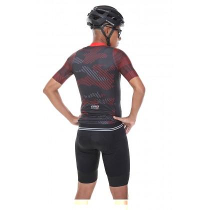 Jersi Basikal Merah Hitam Camo Red Pro Apparel Cycling Jersey