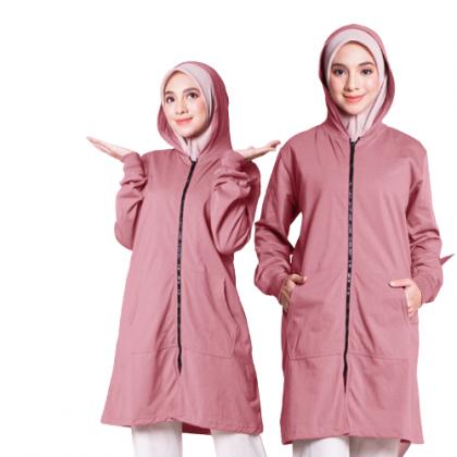 Hoodie Labuh Muslimah Dusty Pink
